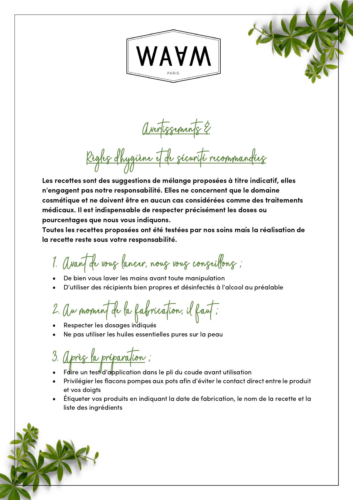 Règles d'hygiène et de sécurité recommandées